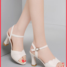 White sandals women's leather button shoes new summer women's shoes in 2021