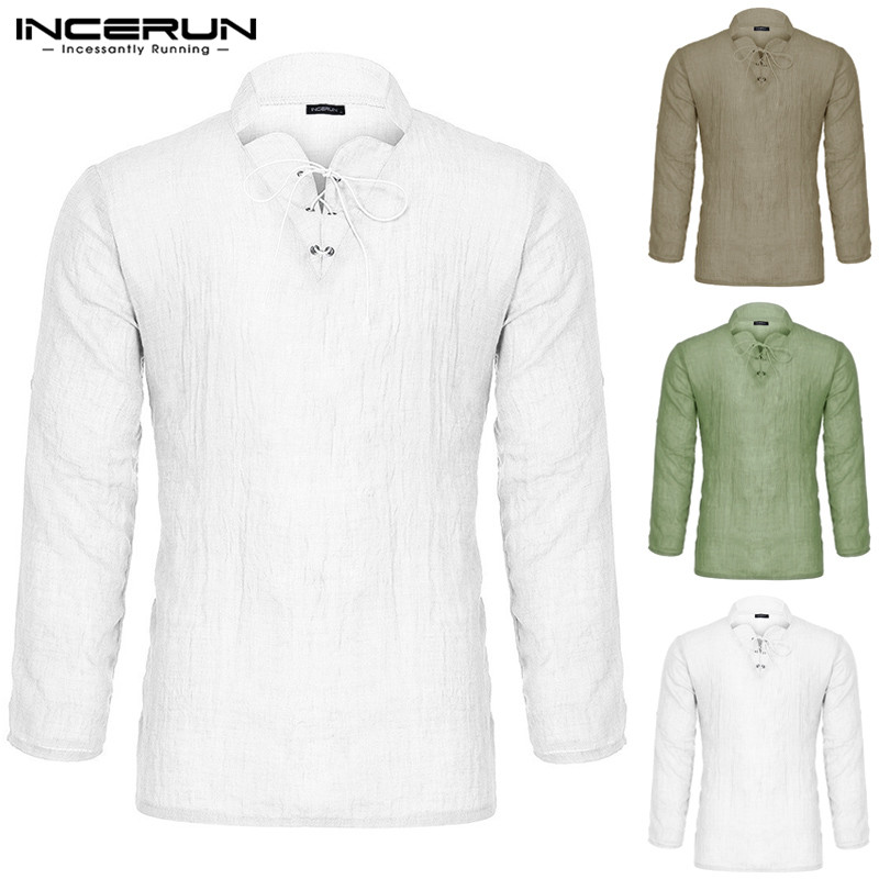INCERUN Men's Shirt Fashion Long Sleeve V-neck High Quality Streetwear Tops Medieval Peasant Retro Solid Color Men Shirt