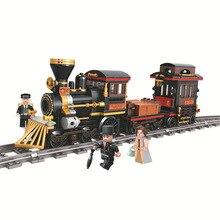 قطار المدينة مسار السكك الحديدية طريقة اللبنات الكلاسيكية الطوب البخار مجموعات لعب للأطفال هدايا عيد الميلاد 5091