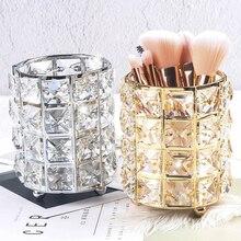 Metal Makeup Organizer Brush Holder Box Crystal Jewelry Stor