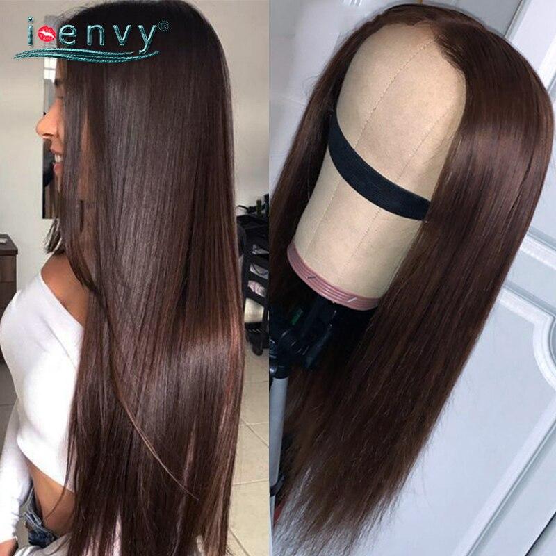 Прозрачные парики из натуральных волос на фронте с кружевом шоколадный цвет прямые волосы Remy парик темно-коричневые перуанские волосы круж...