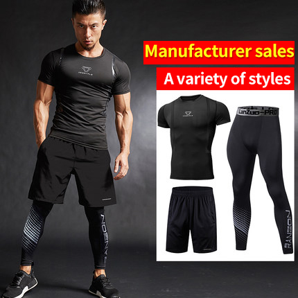 3Pcs/Set Men's Tracksuit Gym Fitness Compression Sports Suit  Clothes Running Jogging Sport Wear Tight  Quick Dry Running Sets