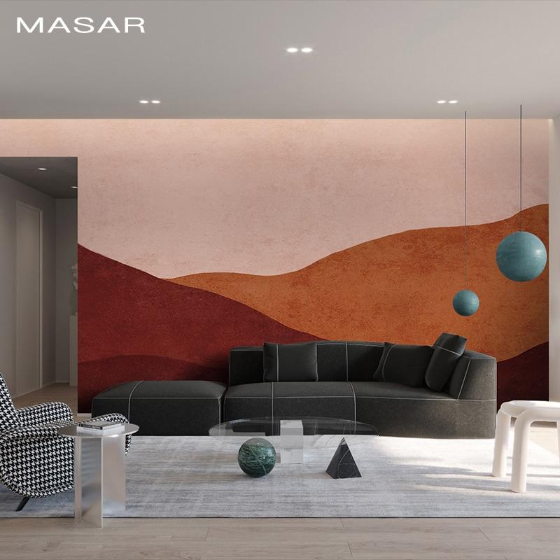 MASAR Creative Cartoon Red Hills, Murals, Children's Rooms, Bedroom Wallpaper, Kindergarten Amusement Park, Customized Wallpaper