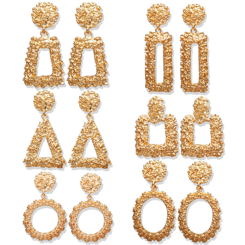 Ai Heng European And American Fashion Earrings Exaggerated Geometric Trend Retro Metal Earrings Jewelry