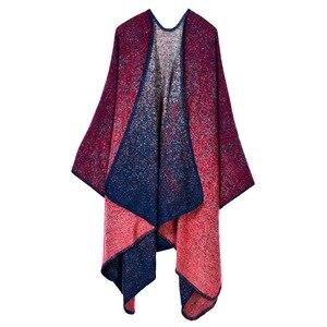 Image 5 - Новинка 2020, модное зимнее теплое пончо в клетку и накидки для женщин, шали большого размера, палантины, кашемировая Пашмина, женская одежда