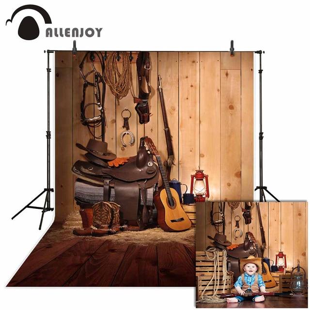 Allenjoy Tây Phông Nền Chụp Ảnh Da Bò Âm Nhạc Đồng Quê Gỗ Phông Nền Photocall Để Chụp Trang Trí Mới Vải