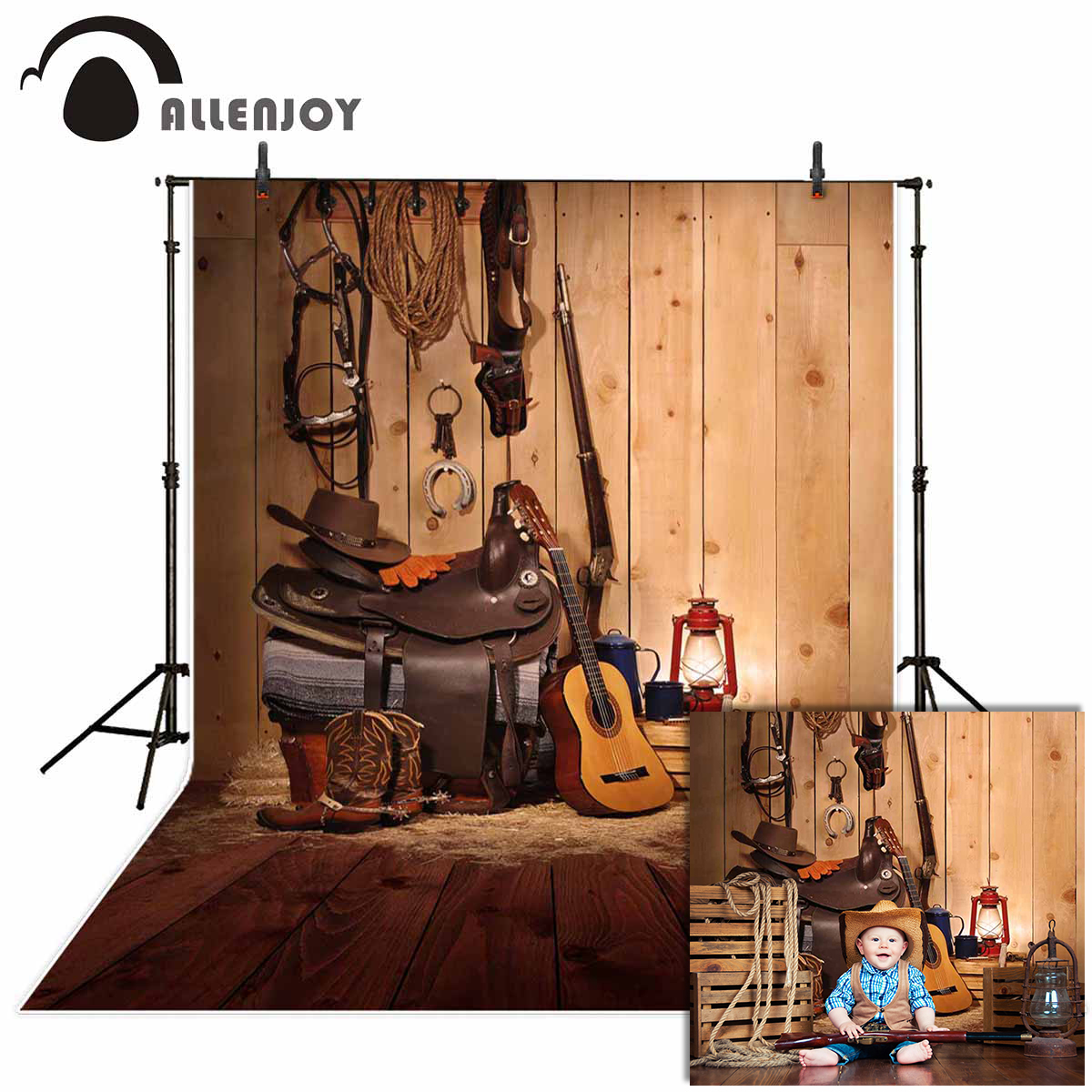 Allenjoy western photography background cowboy music countryside wood backdrop photocall photobooth decoration new fabric image