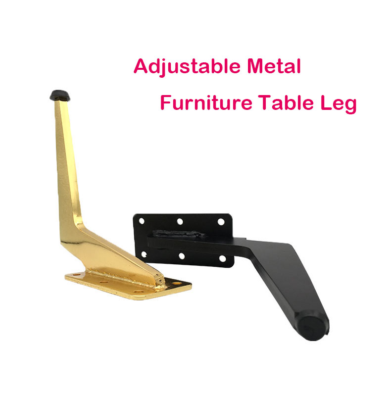Bending Height Adjustable Metal Furniture Legs Gold Black Square Cabinet Table Legs for Sofa Feet Foot Bed Riser Accessories image