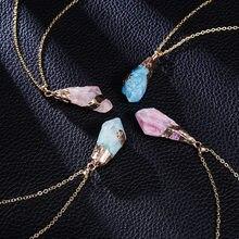 Novo clássico artesanal twining irregular natural pedra pingente roxo cristal rosa quartzo cristal colar para mulher