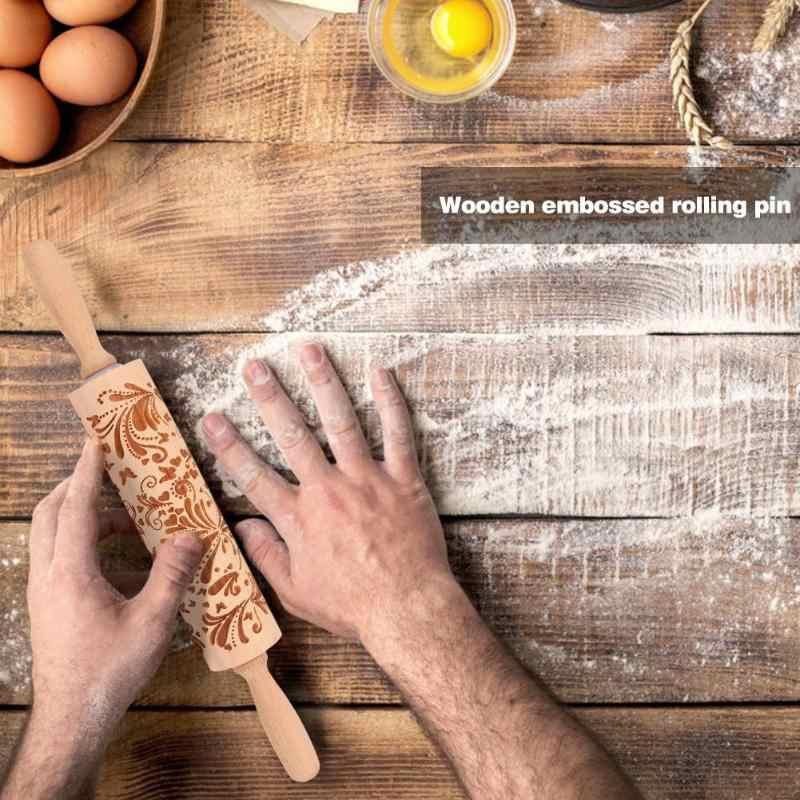 VKTECH Di Natale Cervo di Legno di Rotolamento Spille Goffratura Biscotti di Cottura Noodle Biscotto Torta Del Fondente Della Pasta Rullo Modellato Fiocco di Neve