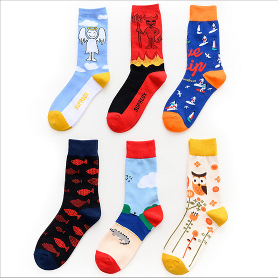 Stockings Trend Small White Bull King Cartoon Animal Splicing With Cotton Stockings Trend Brand Men's And Women's Stockings