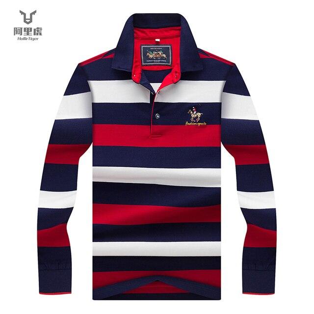 Hollirtiger 2019 outono primavera dos homens camisa polo masculino turn down collar algodão polo camisa masculina manga longa listras bordadas t