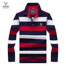 Hollirtiger 2019秋春メンズポロシャツ男性ターンダウン襟コットンポロシャツ男性長袖ストライプ刺繍tシャツ