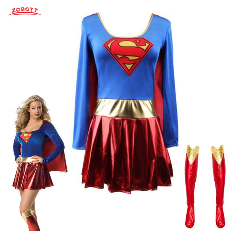 Superman Cosplay Costumes Superwoman Dress For Adult And Girls Halloween Super Girl Suit Superhero Wonder Woman Super Hero Cloak