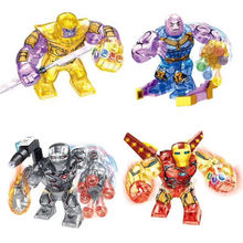 4Pcs Marvel Avengers Super Heroes Iron Man Thanos Spiderman Captain America Building Blocks Bricks Legoinglys Kids Toys Juguetes(China)