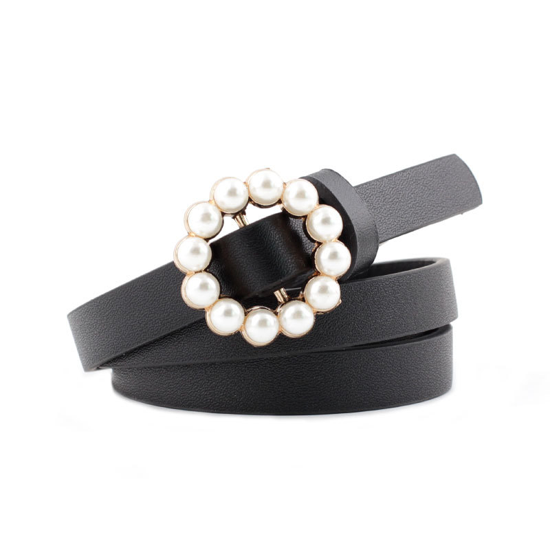 2019 Cute Ladies Pearl Belt Women Black White Red Brown Blue Narrow Thin Skinny Leather Belts For Women Dress Accesorios Mujer