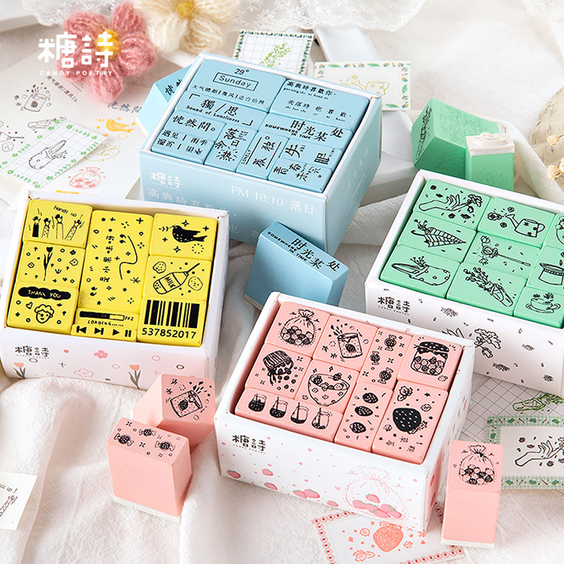 1 Set Vintage Multifunction Painting Decoration Stamp Wooden Rubber Stamps For Scrapbooking Stationery DIY Craft Standard Stamp