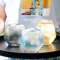 Vaso de cristal transparente Hexagonal de diamante para whisky, cóctel, cerveza, antideslizante, para el hogar, taza de cristal para café y leche
