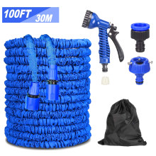 Blue Garden Sprinkler Lawn Irrigation Drip 30m/100ft Expandable Garden Hose Water Hose 7 Function Spray Nozzle Kit(China)