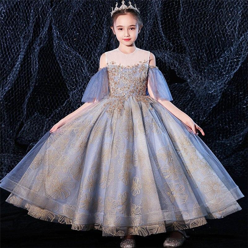2020Luxury New Fashion Design Girls Children Birthday Evening Party Princess Fluffy Dress Kids Teens Host Piano Costumes Dress