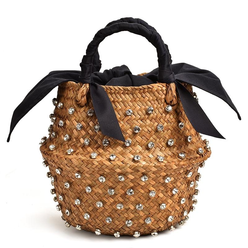 Handmade Embellished Straw Bag Summer Holiday Beach Bag With Pearl Ladies Woven Bucket Diamond Bag Designer Hot Handbags