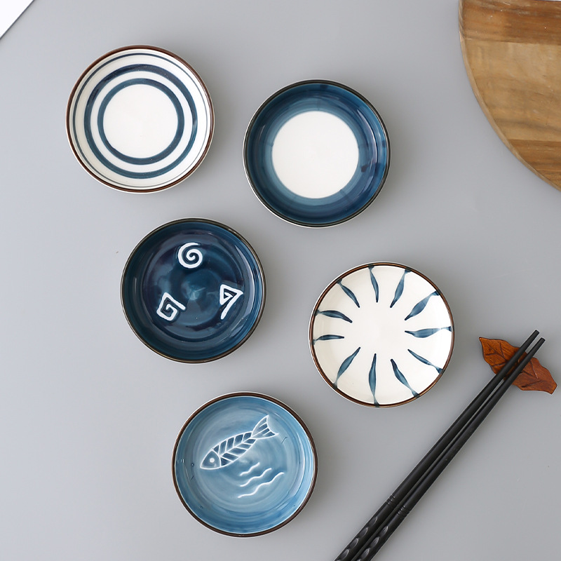 Kitchen Ceramic Dish Assorted Seasoning Mini Plate Dipping Sauce Vinegar Bowl Japanese Creative Tableware Home Dish Dinner Plate