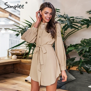 Simplee Elegant lace mesh embroidery women A-line dress Long sleeve button office ladies dresses Solid sashes summer shirt dress