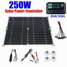 250W Solar Panel Kit Complete Dual 12/18V DC USB With 60A/100A Solar Controller Solar Cells for Car Yacht RV Battery Charger