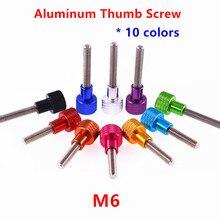 5 pçs alumínio parafuso de polegar m6 alumínio serrilhado cabeça de aço inoxidável mão parafusos de polegar anodizado 10 cores