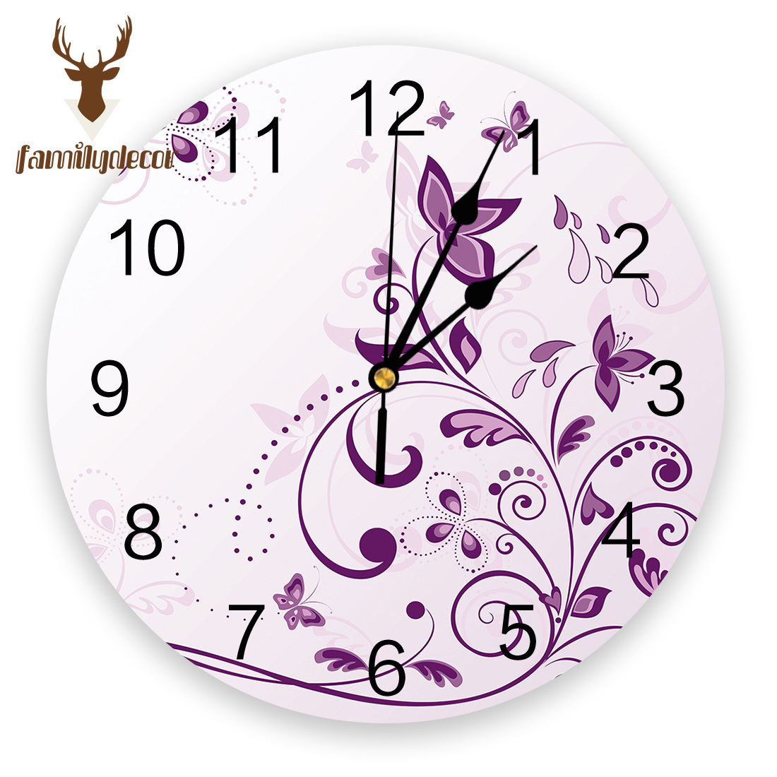 Violet Butterfly Printed PVC Wall Clock Modern Design Home Decor Bedroom Silent Oclock Watch Wall For Living Room