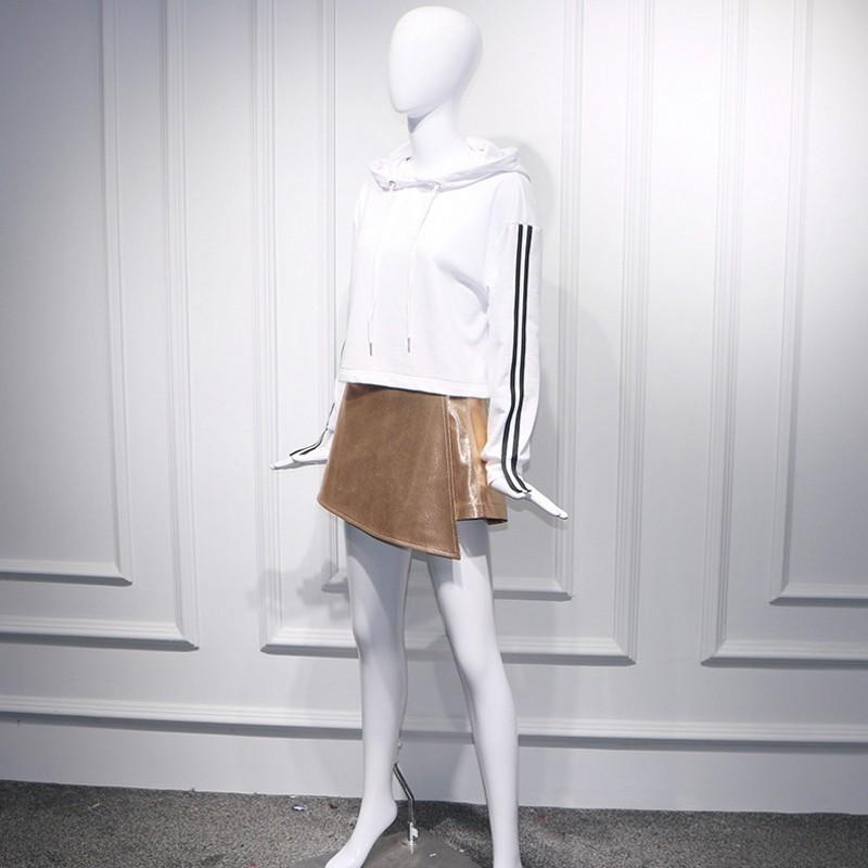 Fashion Women Two Piece Top And Skirt Set Hooded Striped Patchwork Long Sleeve Short Sweatshirt Golden Asymmetrical Mini Skirts