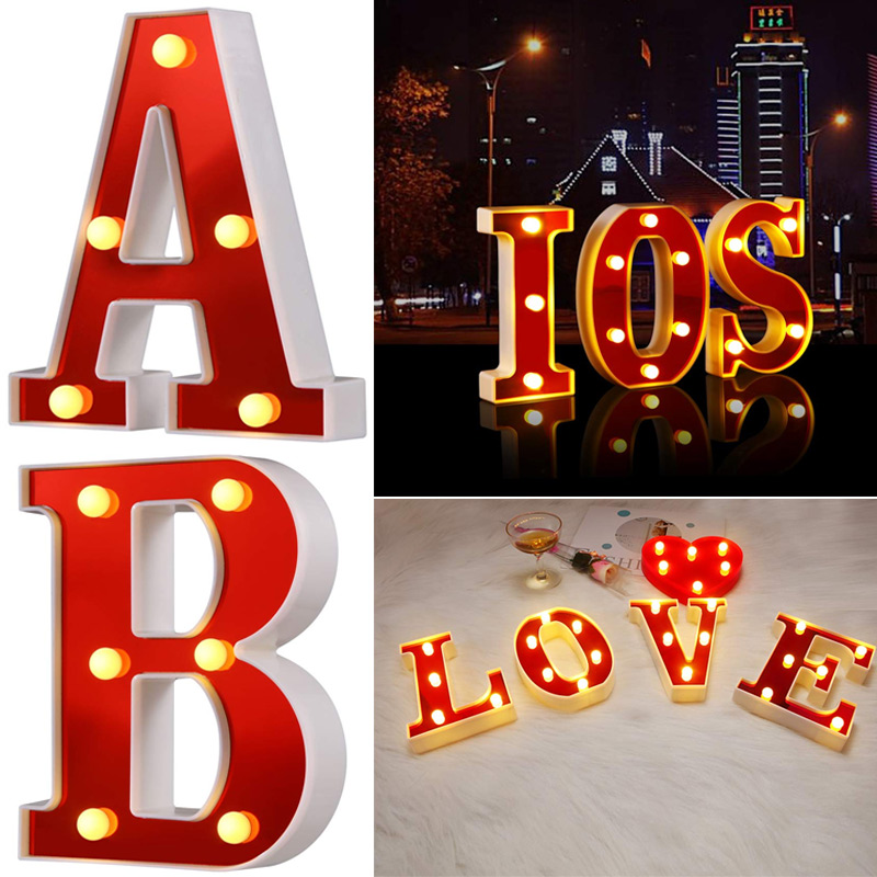 Red Plastic Letter LED Night Light Marquee Sign Alphabet Lights Lamp Home Club Outdoor Indoor Party Wedding Home Decoration NDS