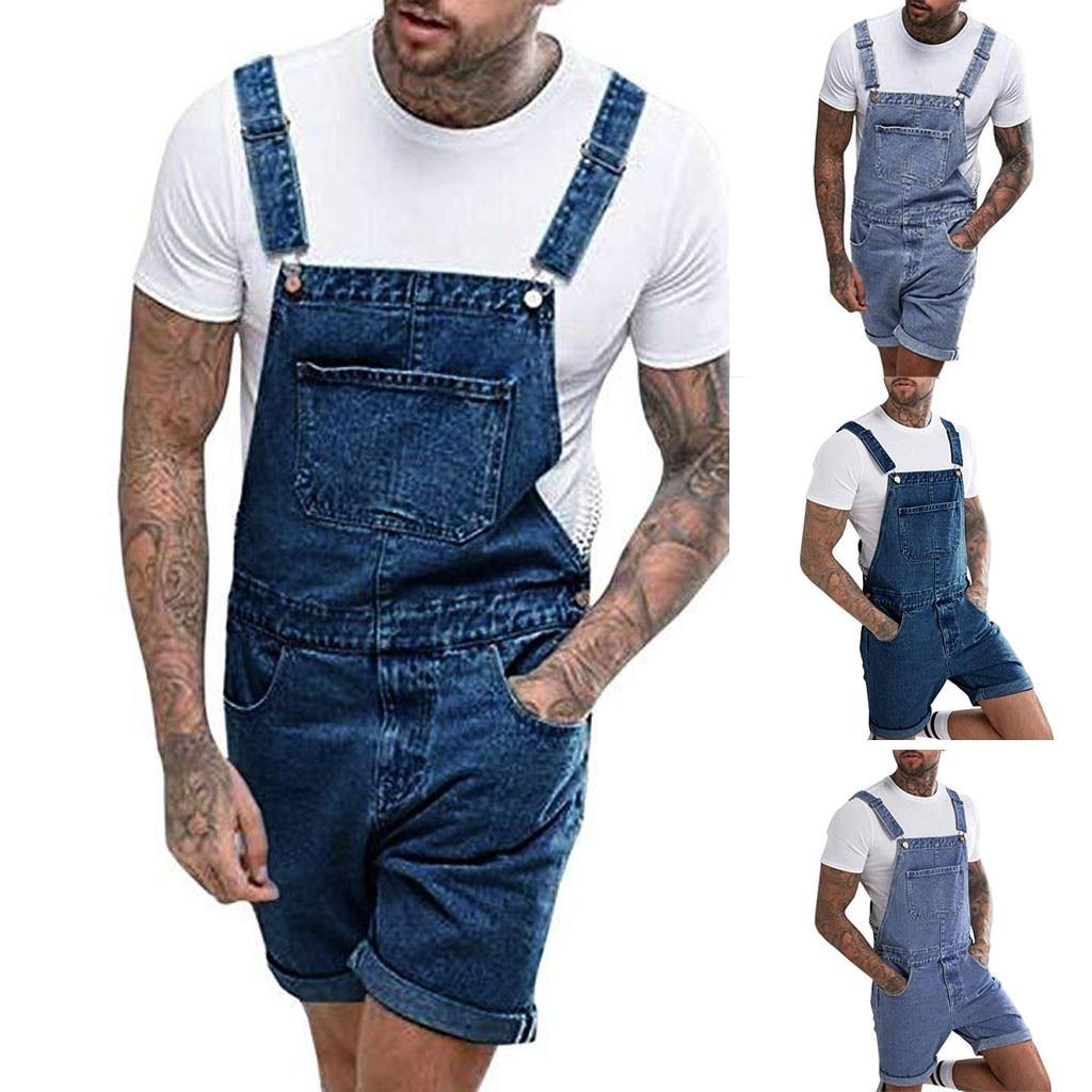 1PC Men Jumpsuit Plus Multi-pocket Loose Jeans Overall  Streetwear Suspender Short Pants L0920