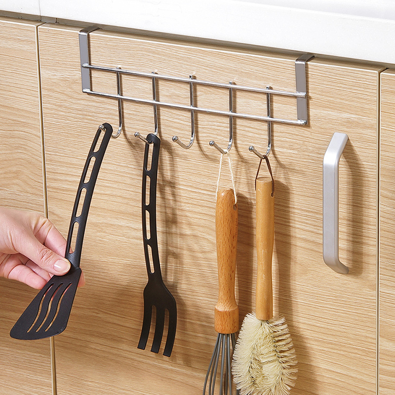 1PCS Back Door Bathroom Hook Kitchen Hook Free Punching Stainless Steel Wall Hanging Pot Racks For Kitchen ZP8071414