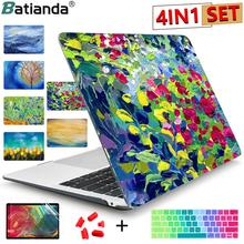 Starry Night Oil Painting Sleeve For Air 11 13 Pro Retina 15 16 Touch Bar Crystal Clear Hard Back Cover Protective Case A2179