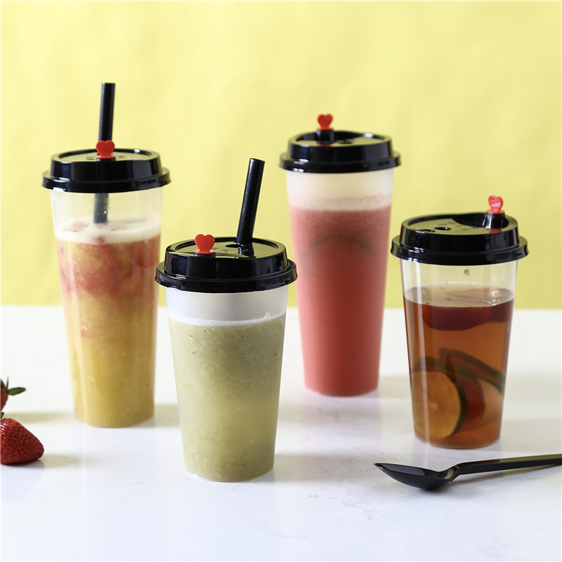 50pcs High quality disposable cold hot drink plastic cups 500ml/700ml  transparent milk tea coffee juice packaging cup with lid