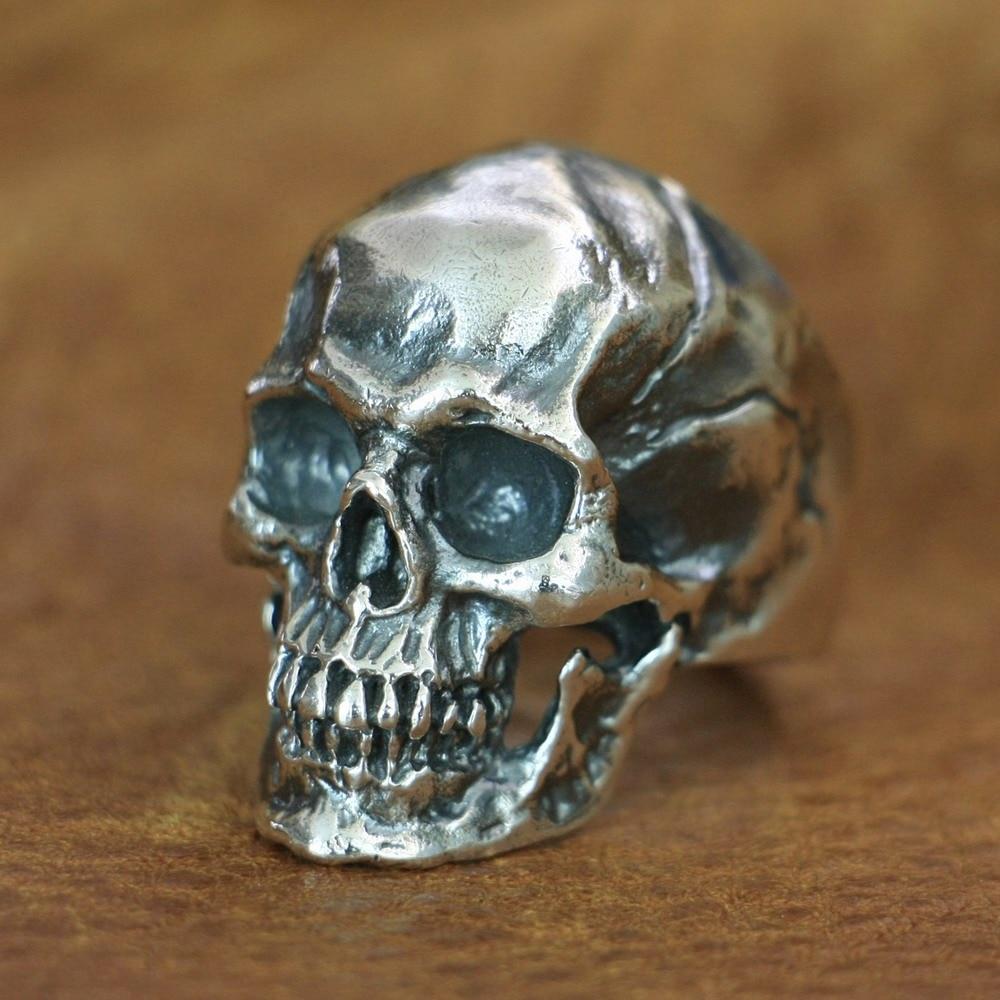 Takı ve Aksesuarları'ten Halkalar'de LINSION 925 Ayar Gümüş Yüksek Detay Kafatası Yüzük Erkek Biker Punk Yüzük TA50 ABD Boyutu 7 ~ 15'da  Grup 2