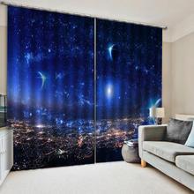 Custom night scene Blue sky  curtains 3d new window balcony thickened windshield blackout