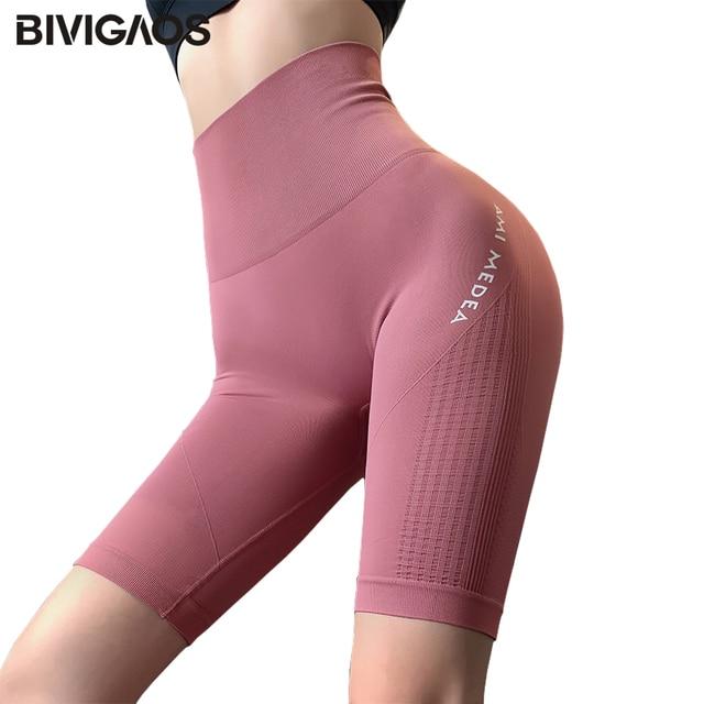 BIVIGAOS Letter Printed Sport Running Shorts Women High Waist Elastic Fitness Shorts Sexy Hip Quick-dry Summer Biker Shorts 1