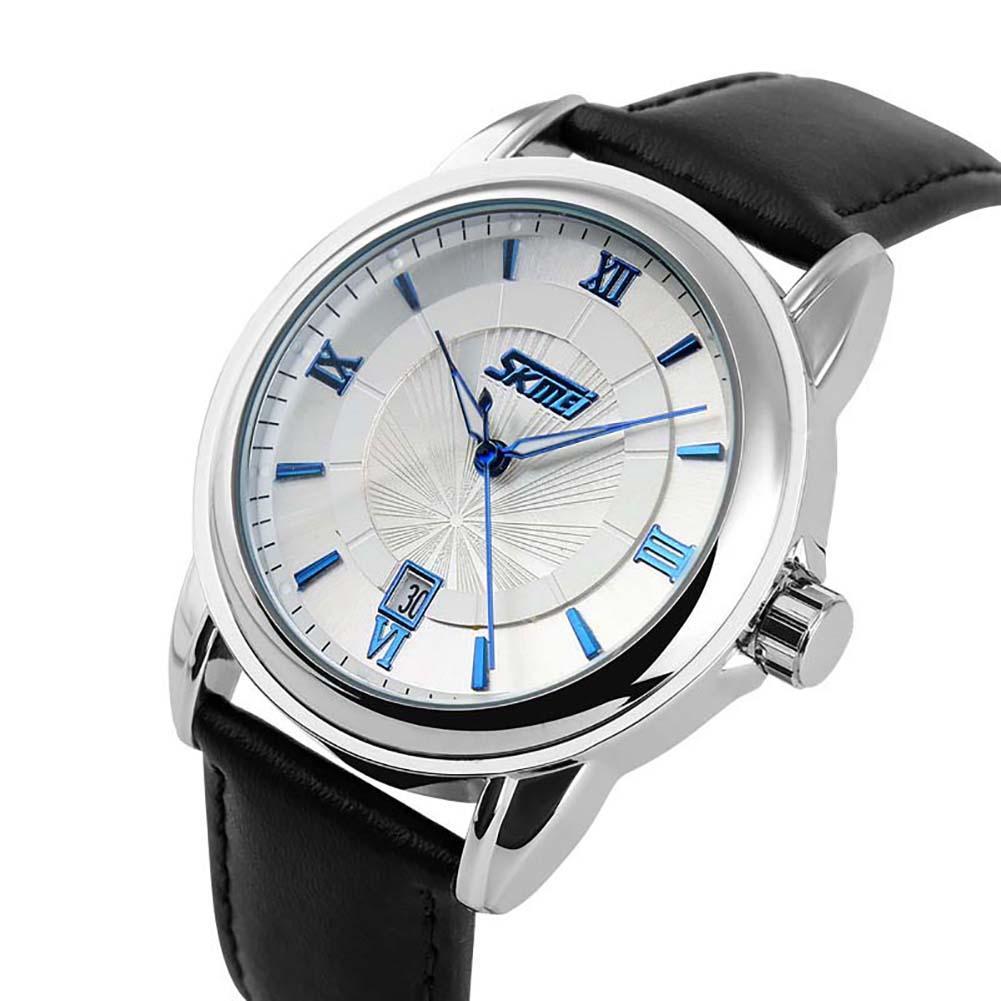 SKMEI 9089 Men Fashion Roman Numerals Calendar Faux Leather Strap Quartz Wrist Watch