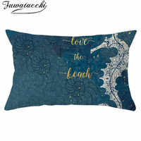 Fuwatacchi Underwater World Polyester Cushion Cover Blue Seahorse Pillows Covers Rectangle Throw Pillowcase Room Decor 30*50cm