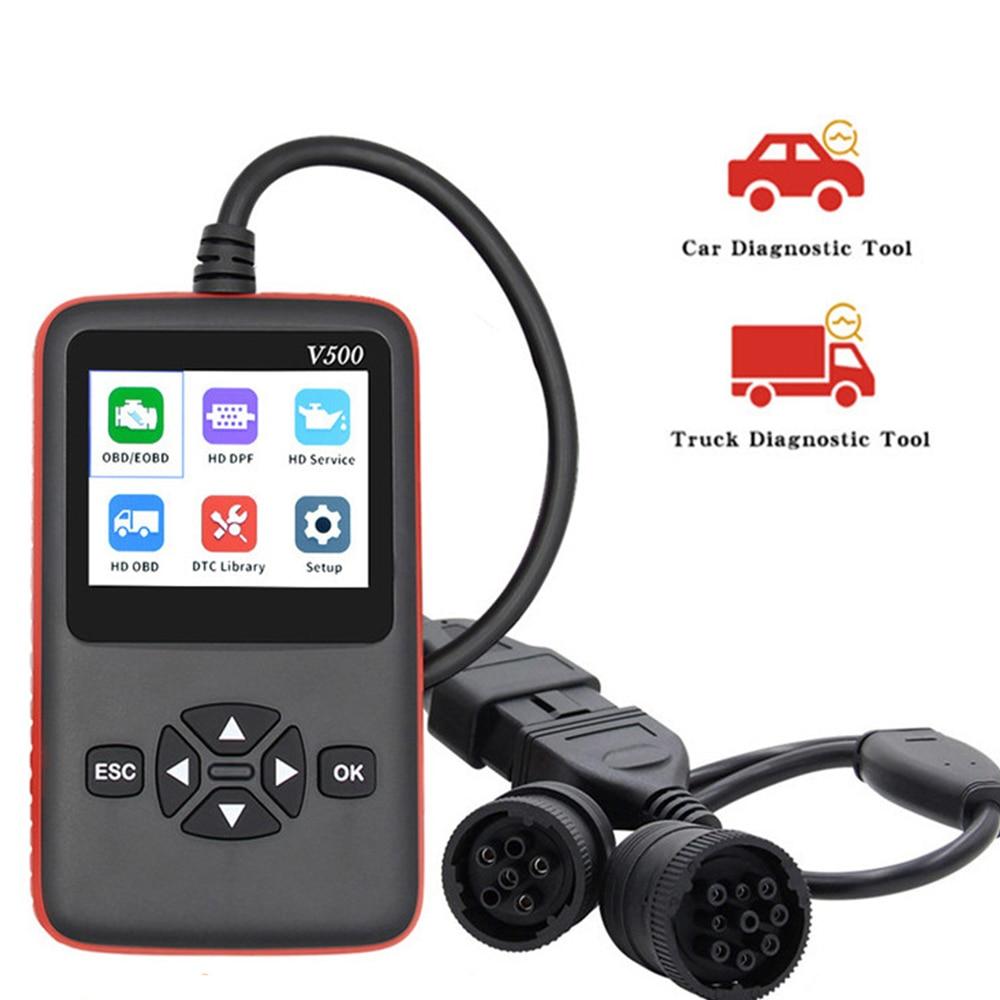 V500 araba kamyon OBD2 tarayıcı için araba kamyon ağır oto kod okuyucu DPF yağ sıfırlama CR-HD OBD/EOBD araç teşhis aracı PK NL102P