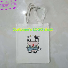 Free printing pattern 6Pcs Blank canvas bag eco custom reusable shopping promotional  3 Quantities