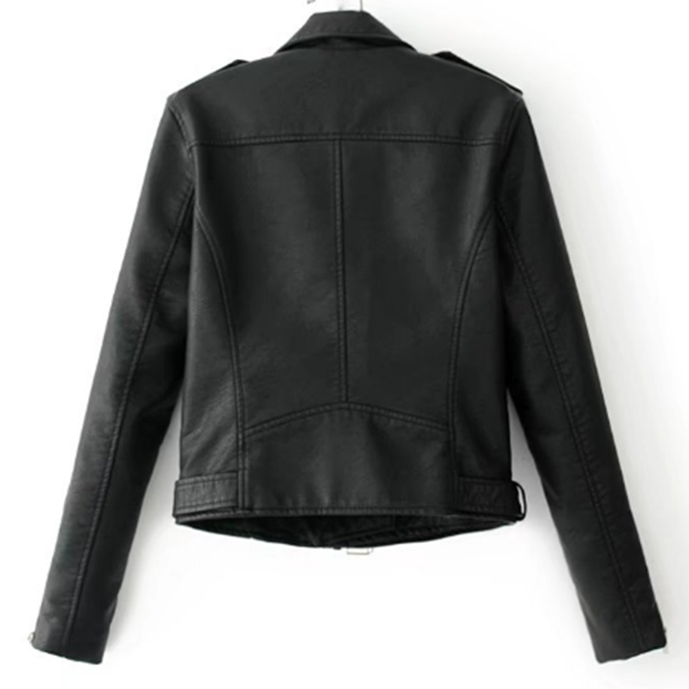 H98a04ec3284b41e8ba9605a894307d08P Fashion Punk Women Coat Jacket Leather Long Sleeve Lapel Zipper Button Motorcycle Jacket Short Coat For Women's Clothings