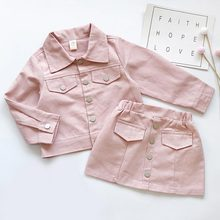 Casual Girls Clothing Set Autumn Solid Button Jacket Skirt Suit 2pcs Clothes Set Long Sleeved Thanksgiving Outfits Girls Clothes girls solid jacket