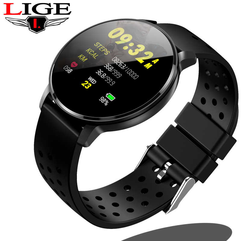 LIGE Smart Watch OLED Color Screen Smartwatch Female Fashion Fitness Tracker Heart Rate Monitor Men Smart sport Wristband N58