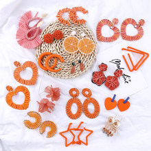 Flashbuy 2019 Korean Orange Geometric Statement Long Earrings Unique Acrylic Resin Heart Raffia Weave Women Dangle Drop Earrings(China)