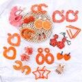 Женские корейские геометрические серьги Lifefontier, уникальные длинные серьги из акриловой смолы с сердечком из рафии, висячие серьги оранжево...