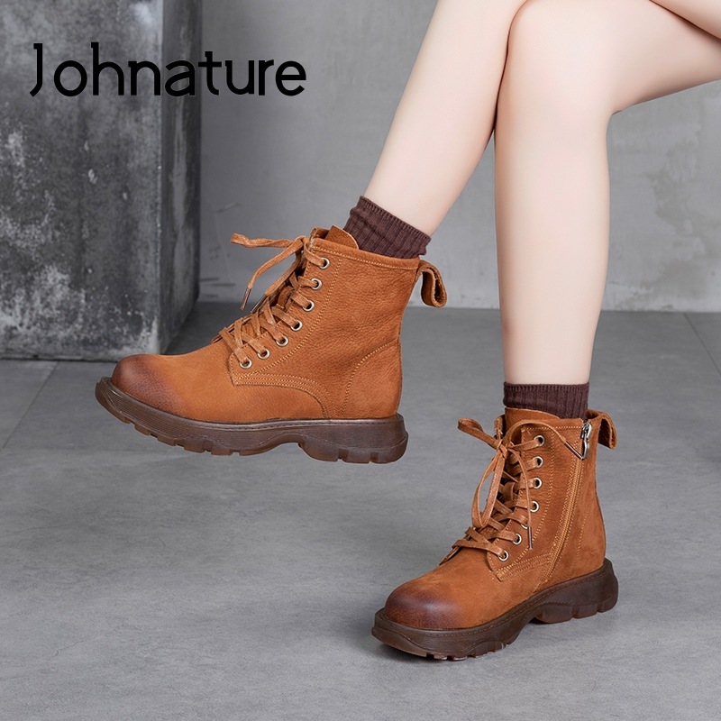Женские ботинки из натуральной кожи Johnature, ботинки ручной работы на шнуровке с круглым носком, на плоской подошве, ботинки на платформе по голень, Осень зима|Полусапожки|   | АлиЭкспресс