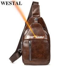 Westal мужская сумка слинг из натуральной кожи большая нагрудная